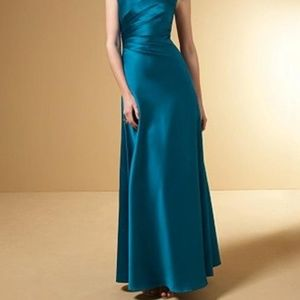 Elegant prom / bridesmaid teal gown
